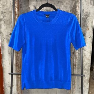 Theory Cobalt Blue Symon Sweater Wool Knit T-Shirt
